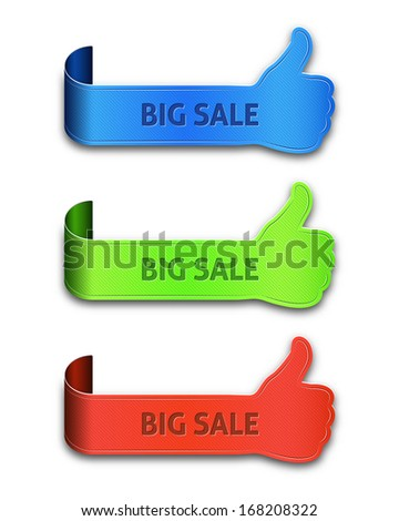 Thumb up banners set with the inscription big sale isolated on white background - stock vector