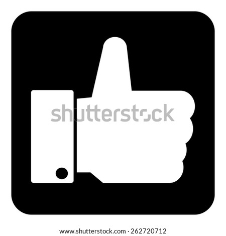 Thumb up button on white background. Vector illustration. - stock vector