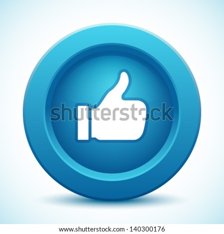 thumb up button, vector illustration - stock vector
