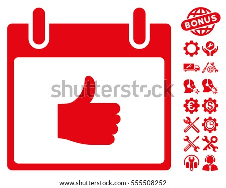 Thumb Up Calendar Day pictograph with bonus setup tools clip art. Vector illustration style is flat iconic symbols, red, white background.