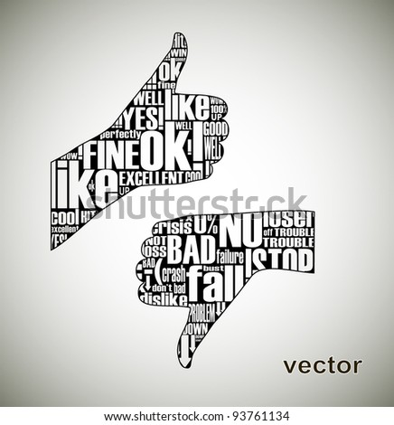 Thumb up / down - stock vector