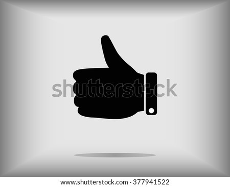 Thumb up finger sign vector illustration isolated on grey background - stock vector