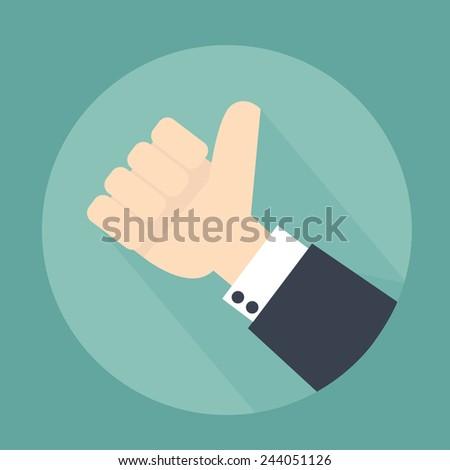 Thumb up  flat design - stock vector