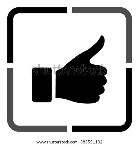 thumb up gesture  - black vector icon - stock vector