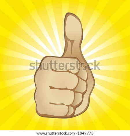 Thumb Up Gesture (editable vector). In the gallery also available XXL jpeg image made from this vector - stock vector