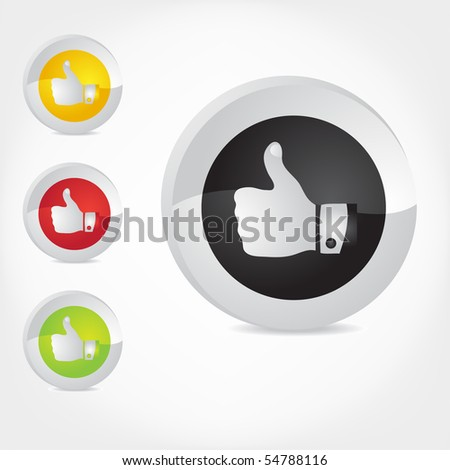 Thumb Up gesture. Vector. - stock vector
