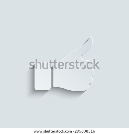 thumb up gesture with shadow - stock vector