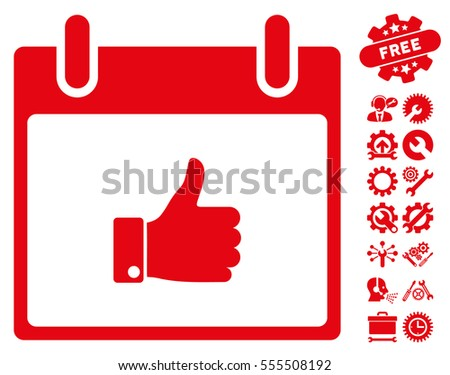 Thumb Up Hand Calendar Day pictograph with bonus service pictures. Vector illustration style is flat iconic symbols, red, white background.