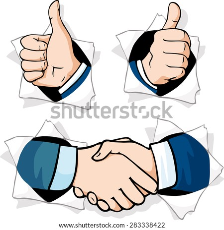 thumb up - hands gesturing peering out of a hole in a paper - stock vector