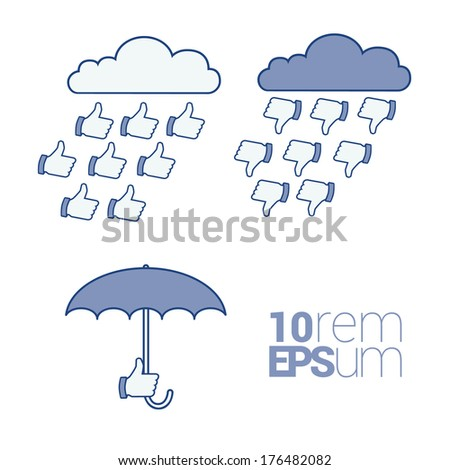 Thumb up icon/hand with umbrella. Vector illustration. - stock vector