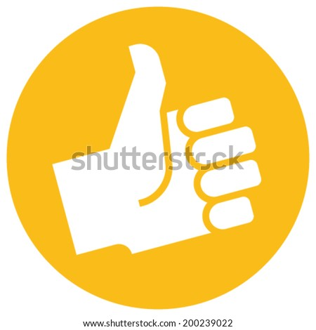Thumb up icon over orange label - stock vector