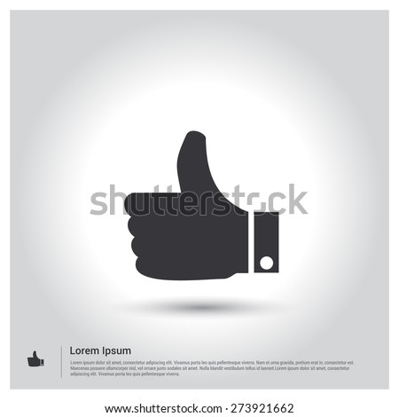 thumb up icon, pictogram icon on gray background. Vector illustration. Flat design style - stock vector