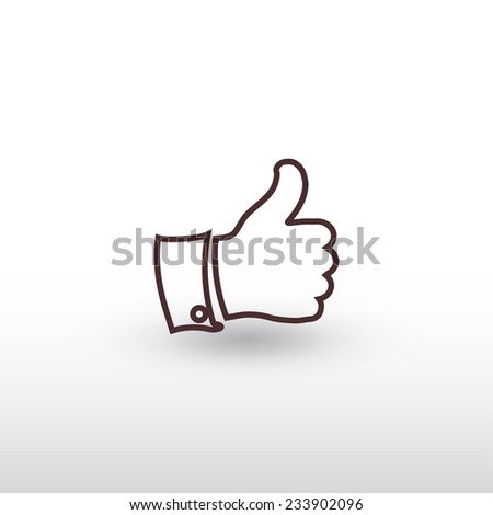 thumb up icon , vector illustration. Flat design style   - stock vector