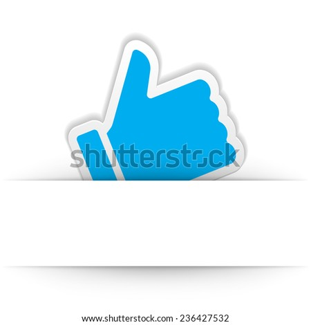 Thumb up icon with and cut paper shadow vector design element - stock vector
