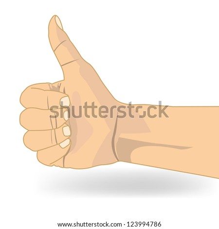 Thumb up like hand symbol vector - stock vector