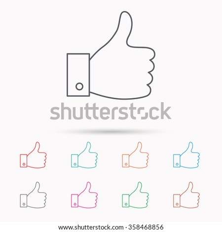 Thumb up like icon. Super cool vote sign. Social media symbol. Linear icons on white background.