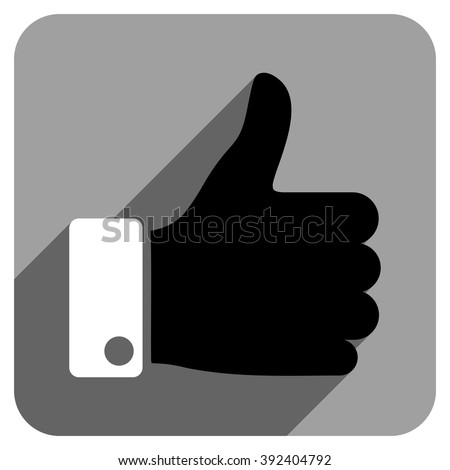 Thumb Up long shadow vector icon. Style is a flat thumb up iconic symbol on a gray square background. - stock vector