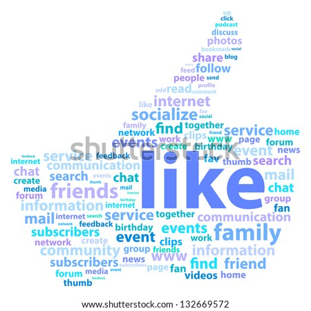 Thumb Up Shape With Social Media Word Cloud - stock vector