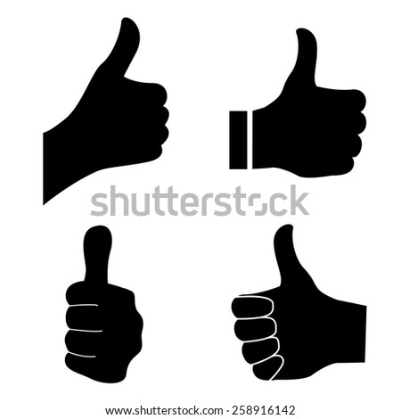 Thumb up silhouette isolated on white background