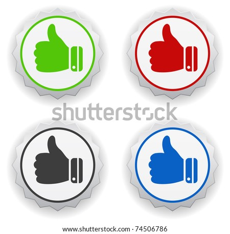 thumb up stickers - stock vector