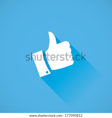 Thumb up vector icon flat design with long cool shadow - stock vector