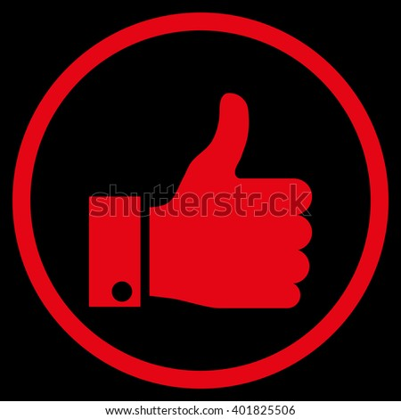 Thumb Up vector icon. Image style is a flat icon symbol inside a circle, red color, black background. - stock vector