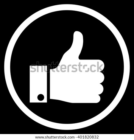 Thumb Up vector icon. Image style is a flat icon symbol inside a circle, white color, black background. - stock vector