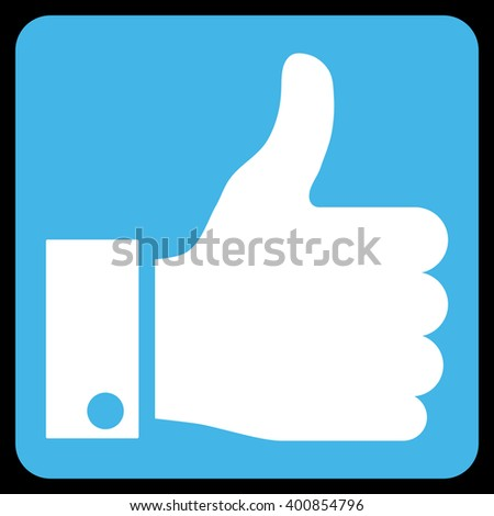 Thumb Up vector icon. Image style is bicolor flat thumb up icon symbol drawn on a rounded square with blue and white colors. - stock vector