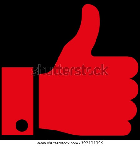 Thumb Up vector icon. Image style is flat thumb up pictogram symbol drawn with red color on a black background. - stock vector