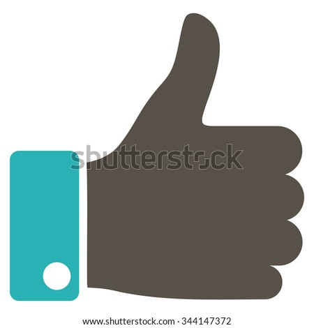 Thumb Up vector icon. Style is bicolor flat symbol, grey and cyan colors, rounded angles, white background. - stock vector