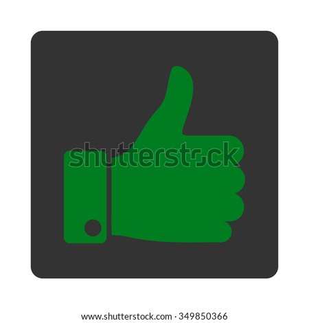 Thumb Up vector icon. Style is flat rounded square button, green and gray colors, white background. - stock vector