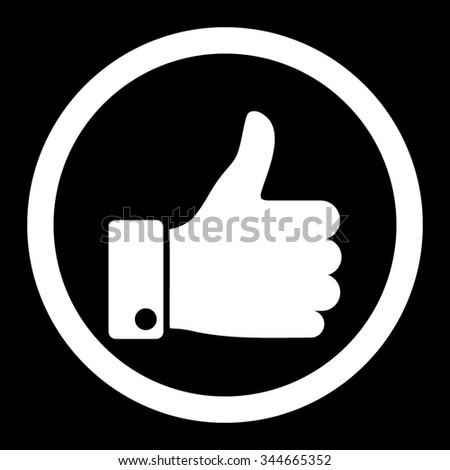 Thumb Up vector icon. Style is flat rounded symbol, white color, rounded angles, black background. - stock vector