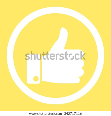 Thumb Up vector icon. Style is flat rounded symbol, white color, rounded angles, yellow background. - stock vector