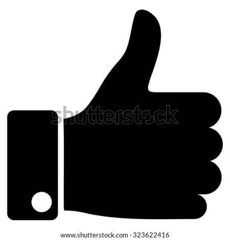 Thumb Up vector icon. Style is flat symbol, black color, rounded angles, white background. - stock vector