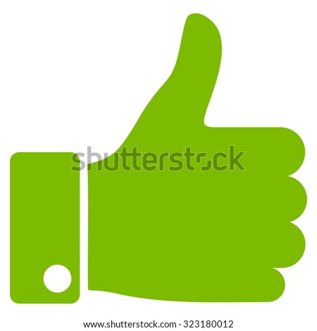Thumb Up vector icon. Style is flat symbol, eco green color, rounded angles, white background. - stock vector