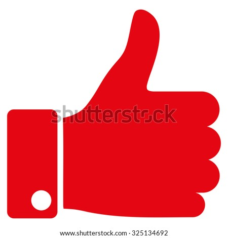Thumb Up vector icon. Style is flat symbol, red color, rounded angles, white background. - stock vector