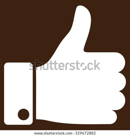 Thumb Up vector icon. Style is flat symbol, white color, rounded angles, brown background. - stock vector