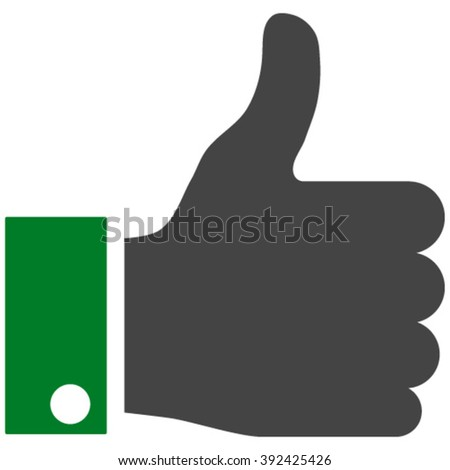 Thumb Up vector icon. Thumb Up icon symbol. Thumb Up icon image. Thumb Up icon picture. Thumb Up pictogram. Flat green and gray thumb up icon. Isolated thumb up icon graphic. - stock vector