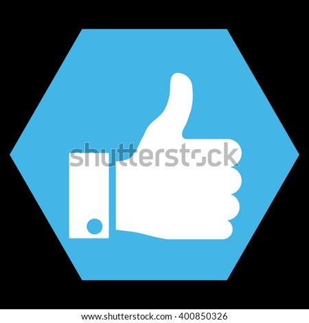 Thumb Up vector symbol. Image style is bicolor flat thumb up icon symbol drawn on a hexagon with blue and white colors. - stock vector
