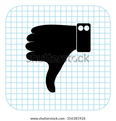 Thumbs down - black  vector icon