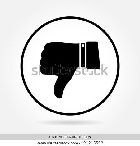 Thumbs down sign in circle - vector icon - disappointed & dislike concept - stock vector