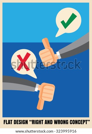 Thumbs up and down Flat icon design illustration - stock vector