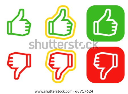 Thumbs up and down icons. Icons are aligned according to the pixel grid. It means that the images are prepared to use in small-sizes. It's specifically for the Web. - stock vector