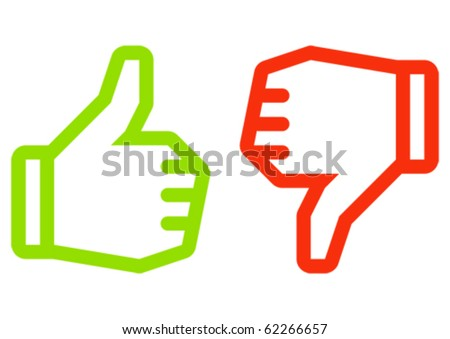 Thumbs up and down icons. Icons are aligned to pixel grid. This means that the images are prepared for use in small-sizes (min 16 px). - stock vector