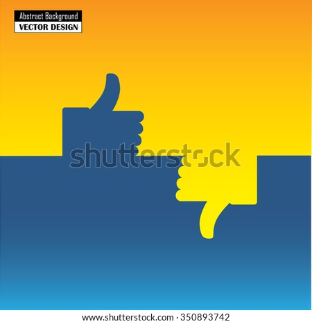 thumbs up and down or like and dislike hand vector icon in blue and on orange background for social media websites and mobile apps with space for writing messages - stock vector