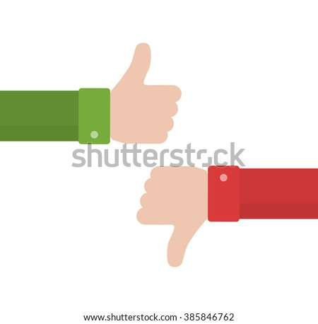 Thumbs up and down vector icon in flat style. Positive and negative feedback from customers. Good and bad gestures isolated on white background. Like and dislike design concept - stock vector