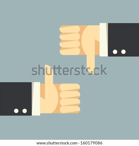 Thumbs Up and Thumbs Down  - stock vector