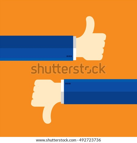 Thumbs up and thumbs down, like and dislike concept communication