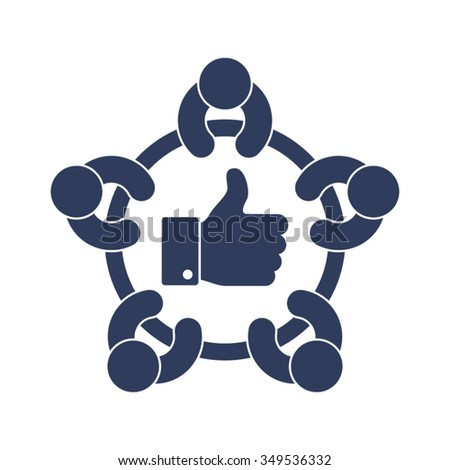Thumbs Up Business Meeting Discussion Brainstorming Agreement Approved Confirmed Validate Support Partners People Together Vector Icon - stock vector