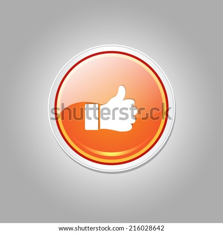 Thumbs Up Circular Vector Orange Web Icon Button